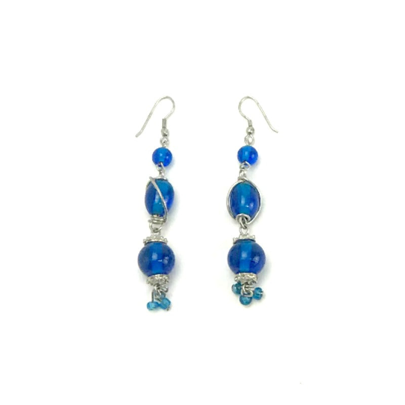 Drop earrings - silver twist- blue beads