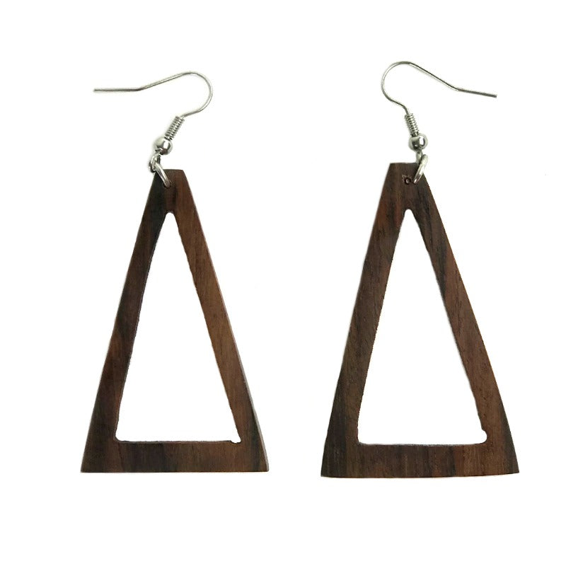 Dangle earrings - triangle - wood