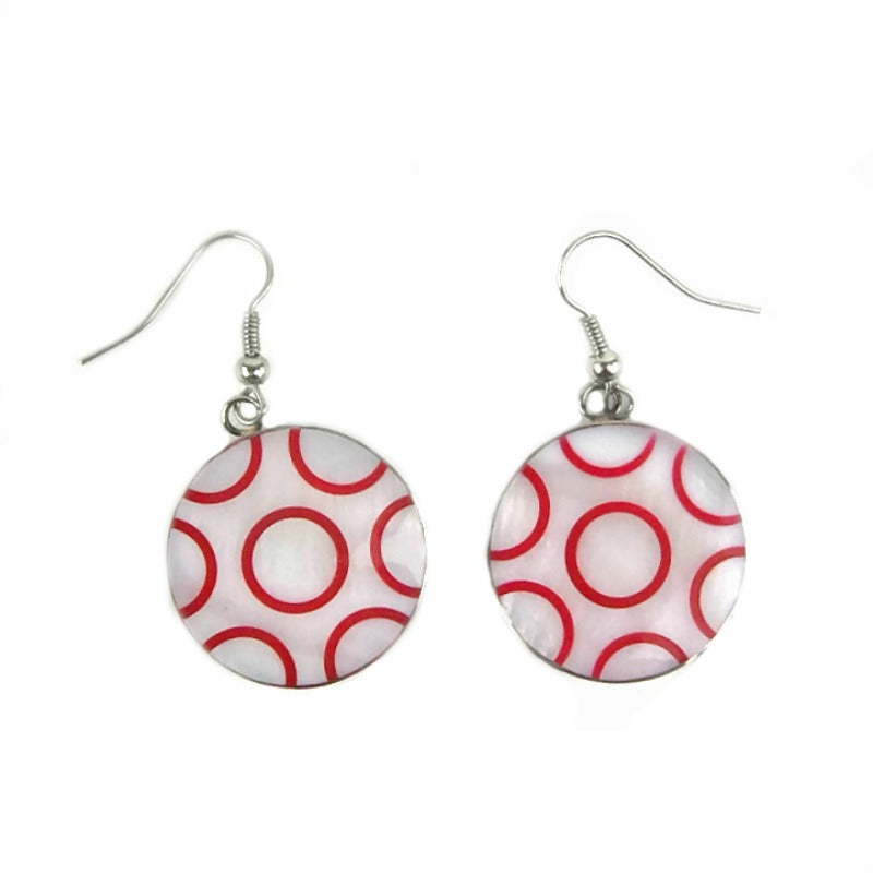 Drop-earrings-green-white-circles