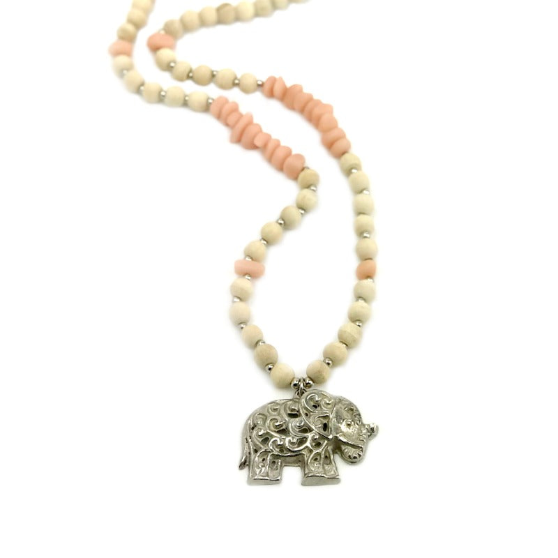 Elephant pendant necklace - sage green stone and wood beads