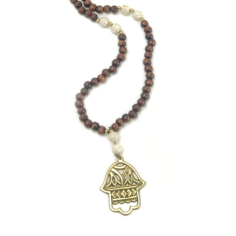 pendant necklace - Fatima Hand - brown cream gold beads