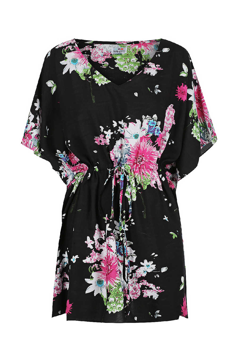 short-summer-kaftan-dress-floral-design-black