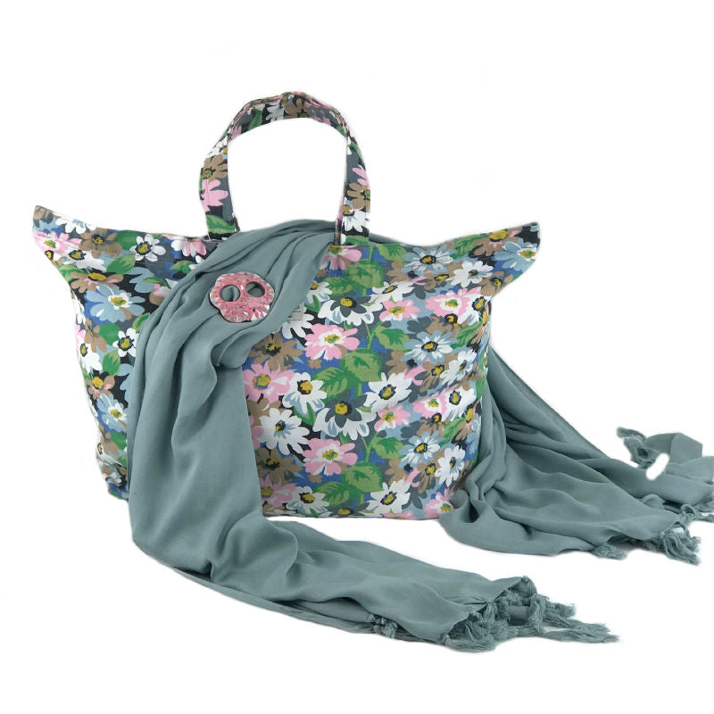 gift set - canvas floral beach bag with grey sarong and pink shell sarong buckle