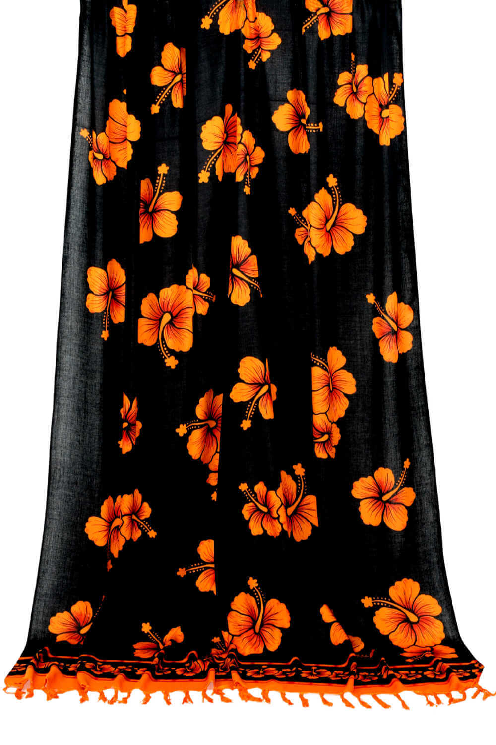Hawaiian-beach-sarong-black-orange-hibiscus-flowers