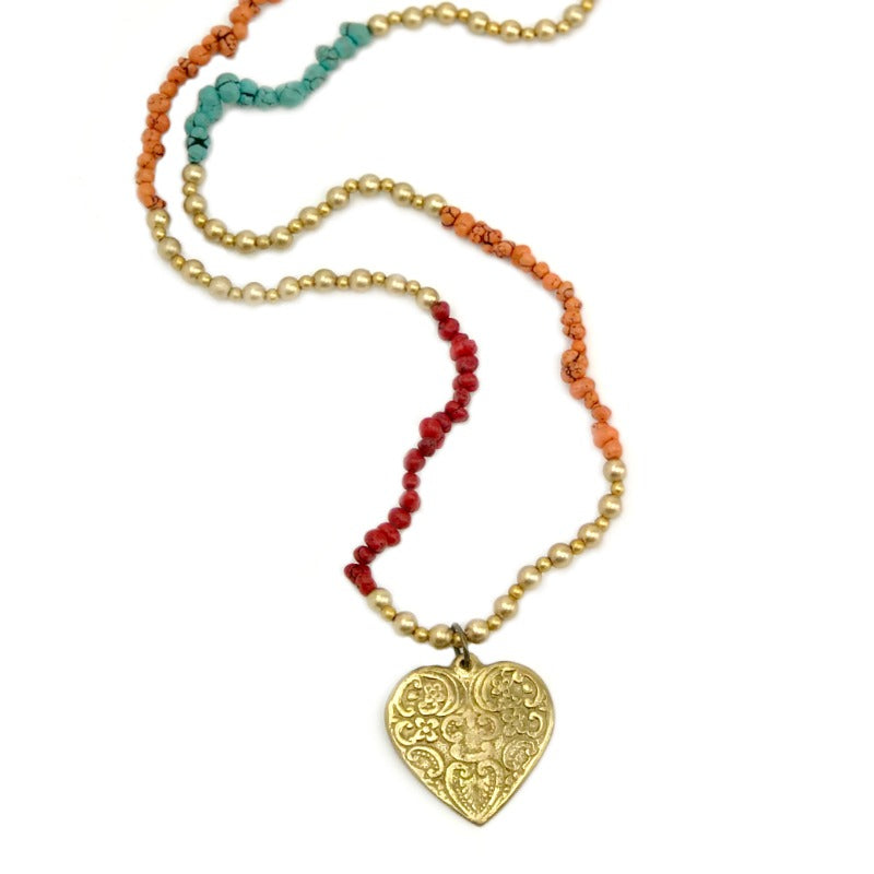 heart pendant necklace - red orange turquoise gold beaded