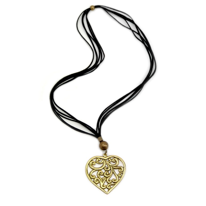 Heart Pendant Necklace - Gold with black suede