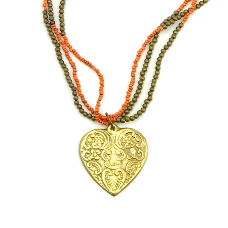 heart pendant necklace - orange and brown beaded