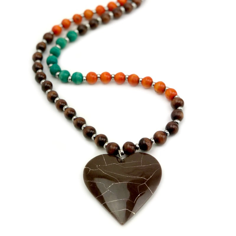 Heart pendant necklace - brown green orange wooden beads