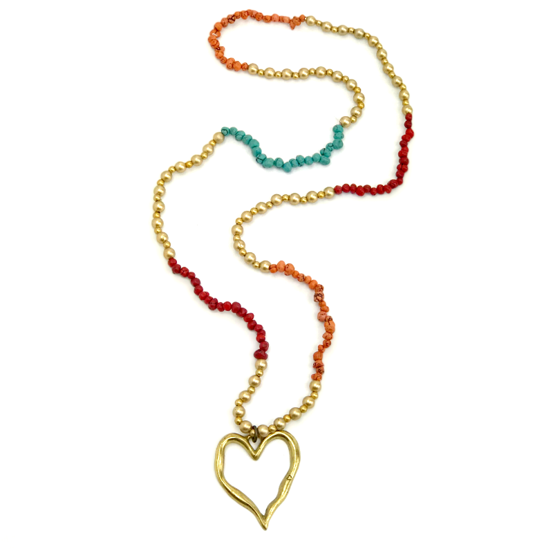 ladies heart pendant necklace - red orange turquoise gold beaded