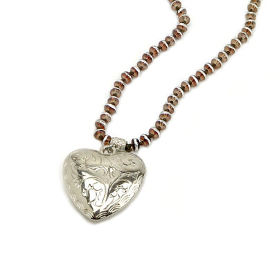 ladies-heart-pendant-necklace-silver-brown-beads