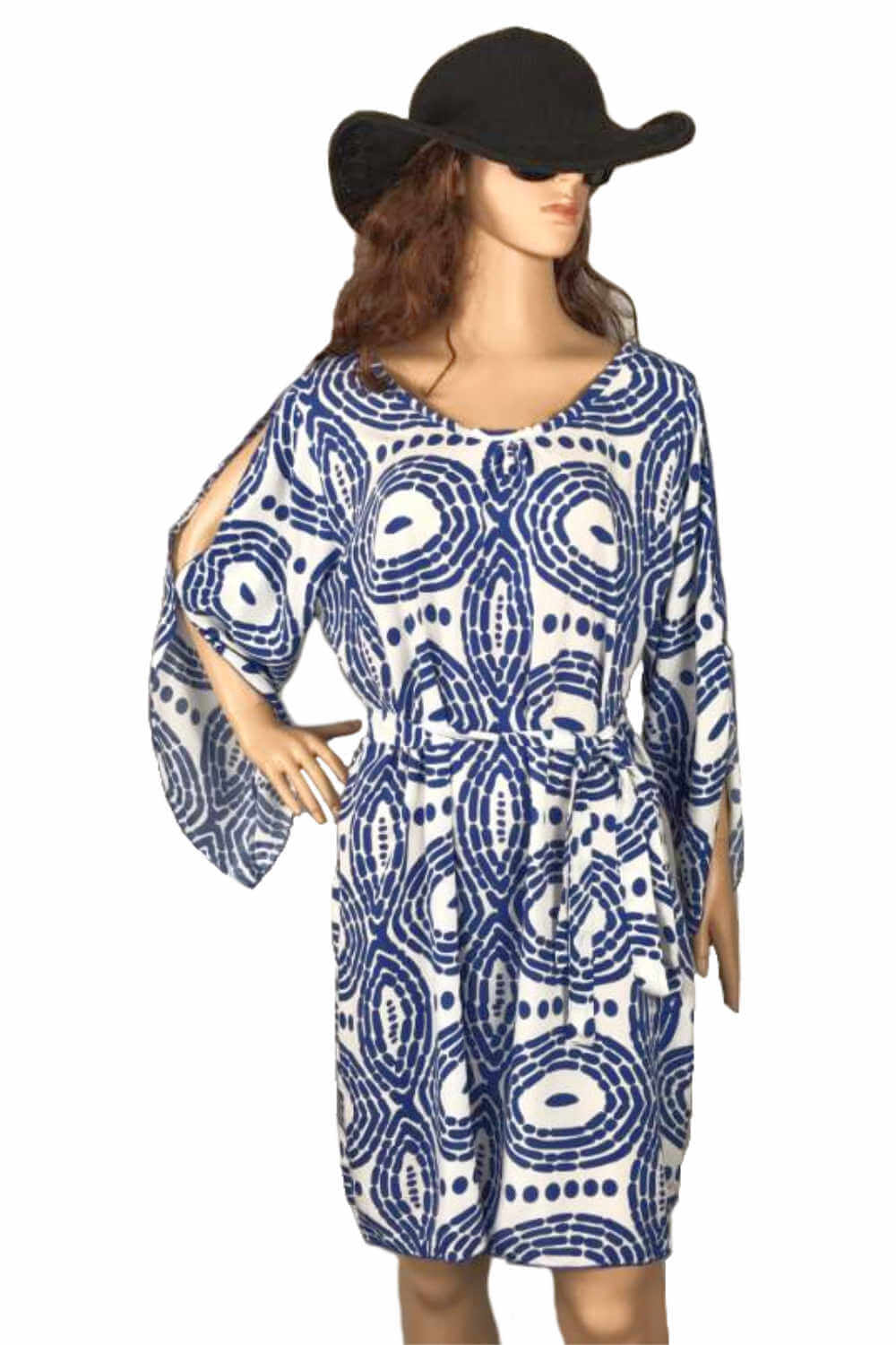 summer-beach-dress-blue-white-circle-design