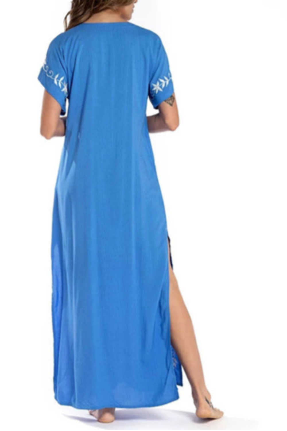 cotton-kaftan-maxi-dress-blue-white-embroidered