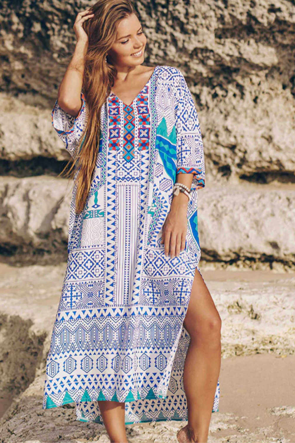 kaftan-maxi-dress-blue-white-geometric-design
