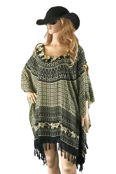 Plus-size-kaftan-top-elephant-mandala-print-black-sand-Holley-Day