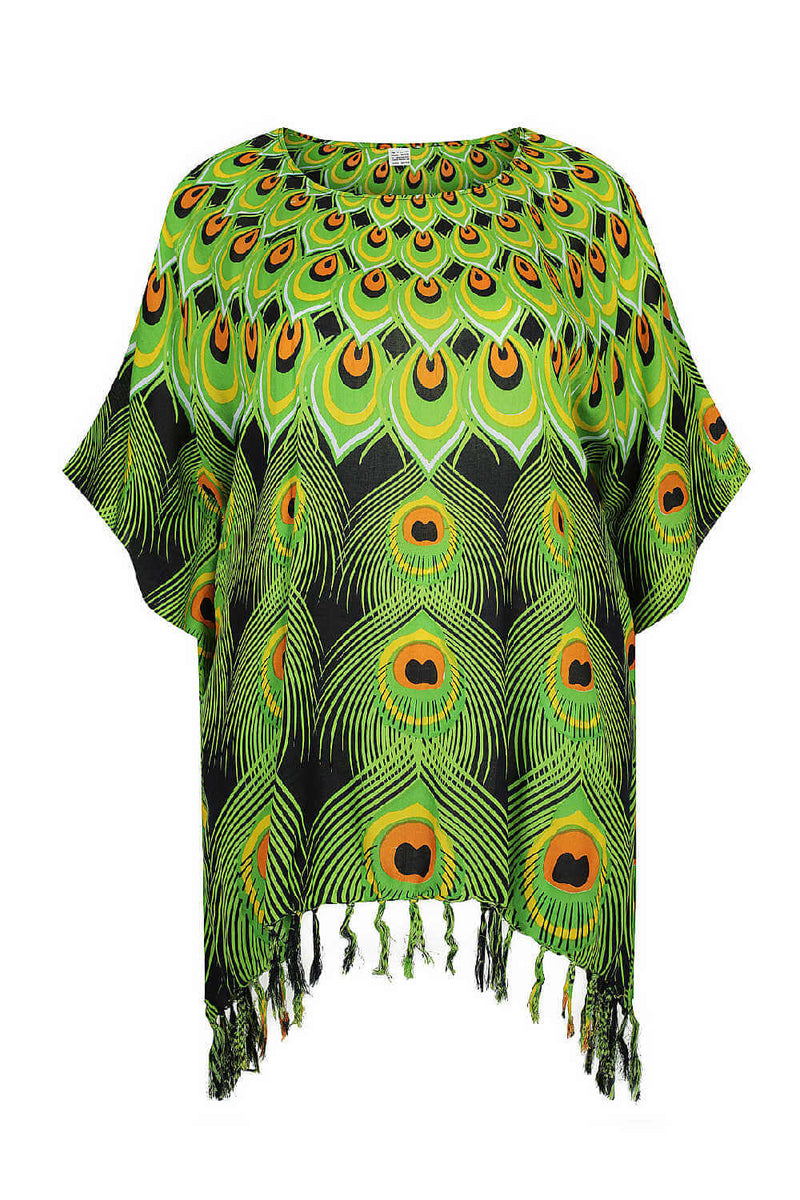 kaftan-top-plus-size-black-blue--lime-green-peacock-feather-design