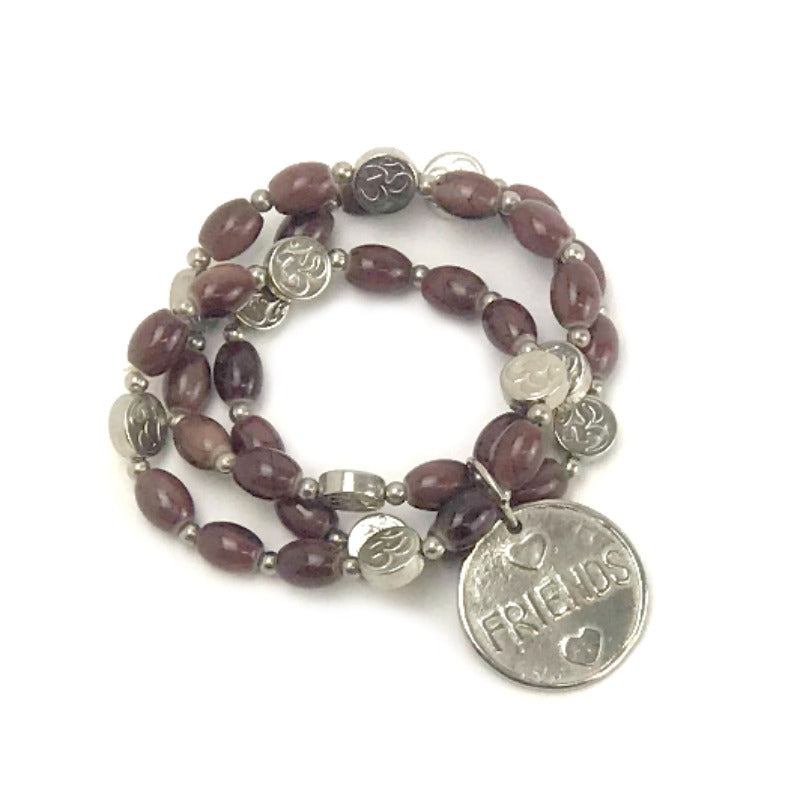 ladies beaded bracelet stack - dream charm - brown beads