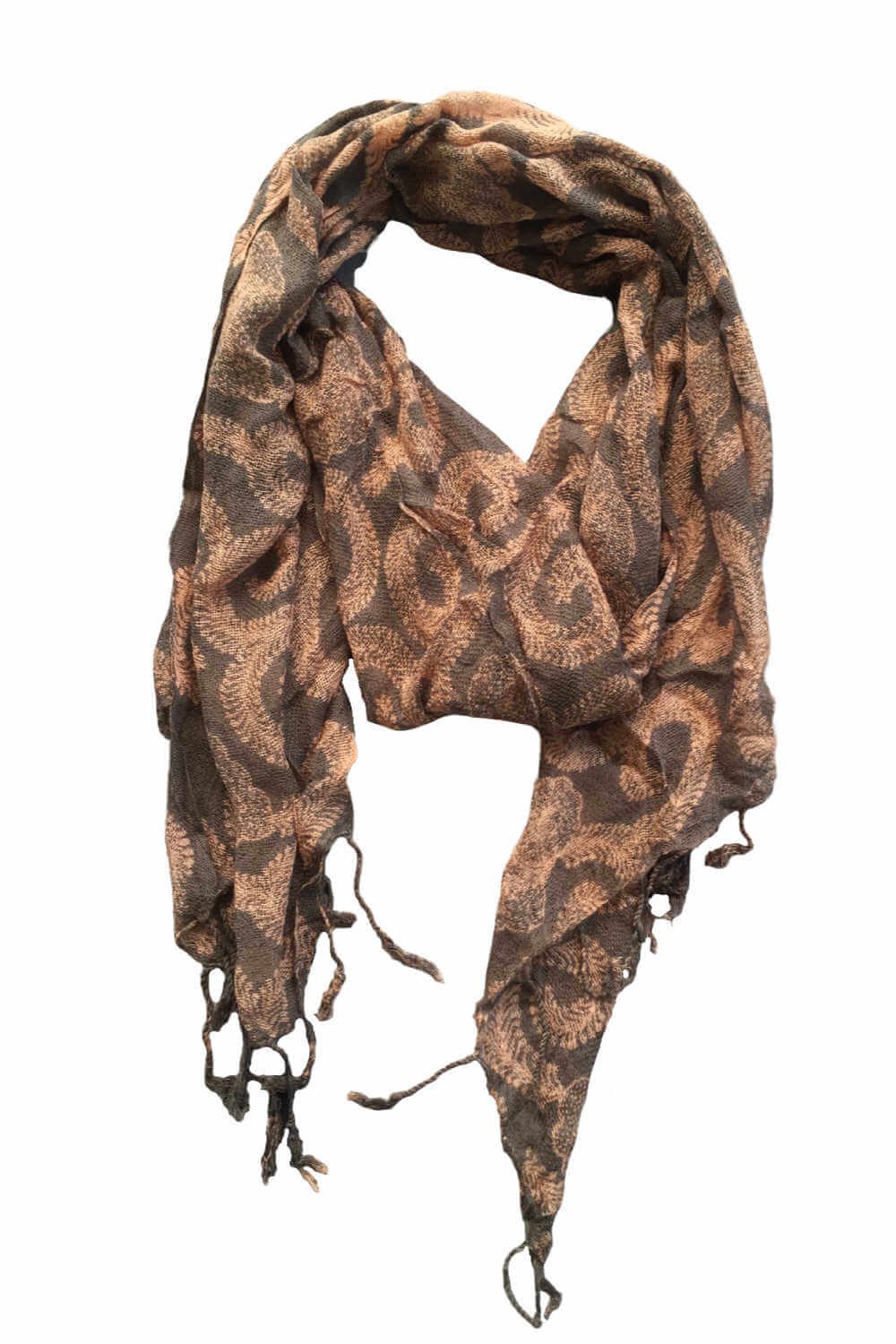 ladies-scarf -khaki-fern-design