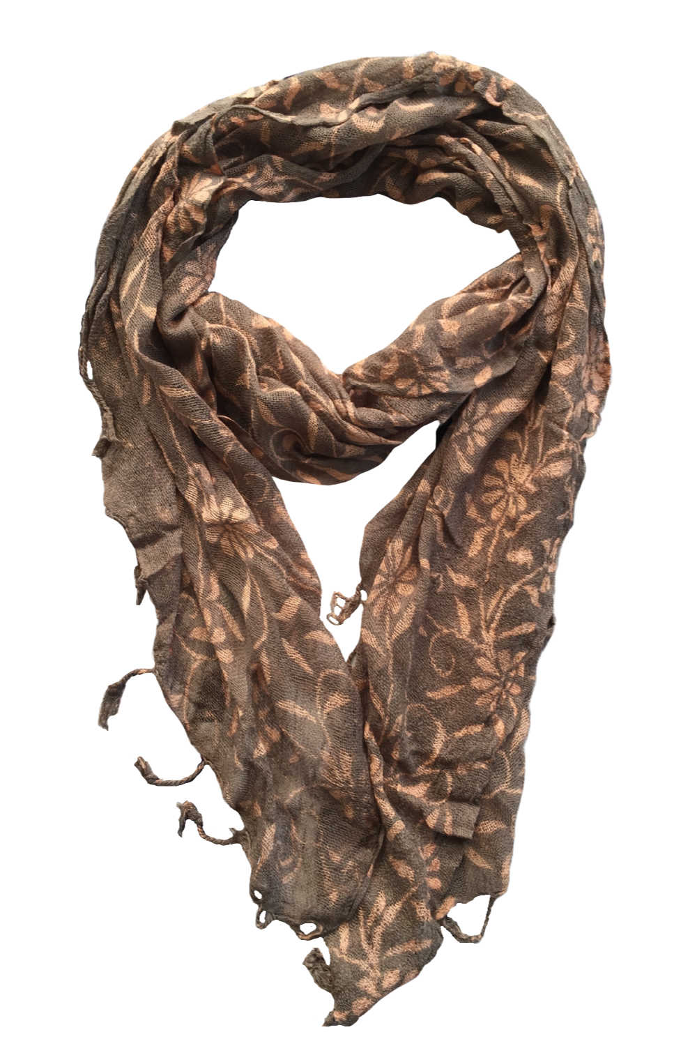 ladies-Scarf-floral-design-khaki-cream - Holley Day