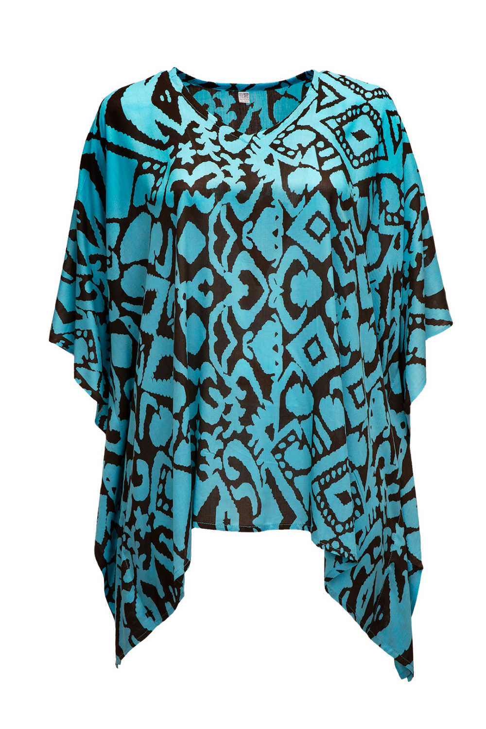 ladies-kaftan-top-blue-brown-geometric-print