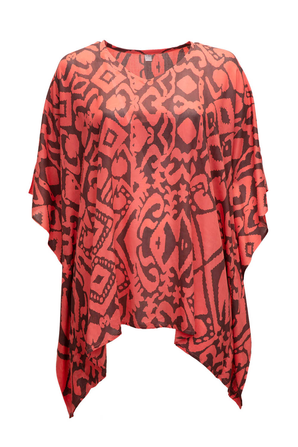 ladies-kaftan-top-salmon-red-brown-geometric-print