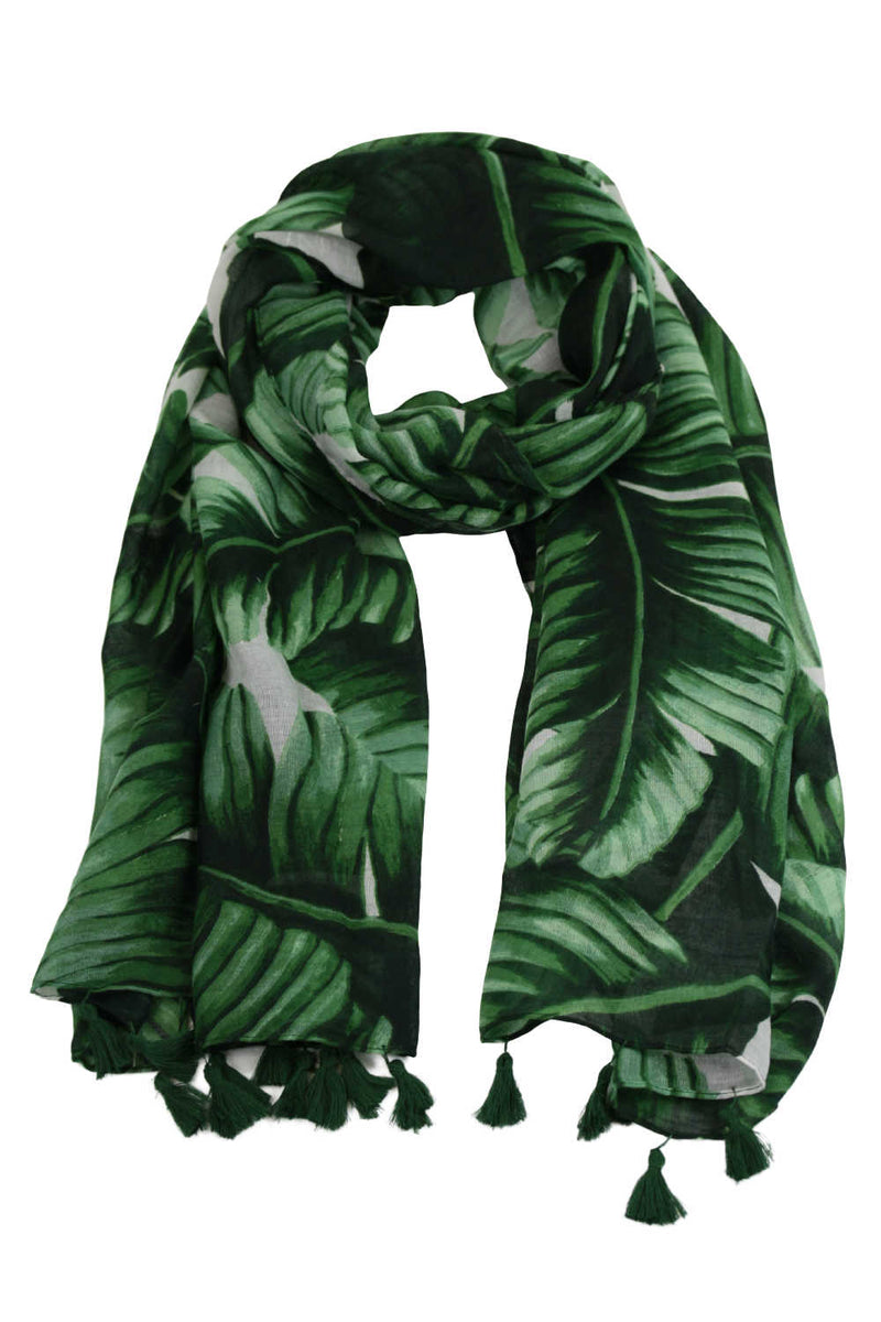 ladies-scarf-green-palm-leaf-oversized