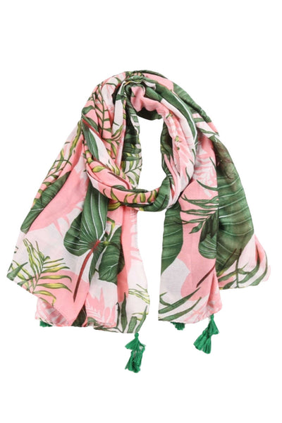 womens-cotton-scarf-pink-green-palm-leaf-design
