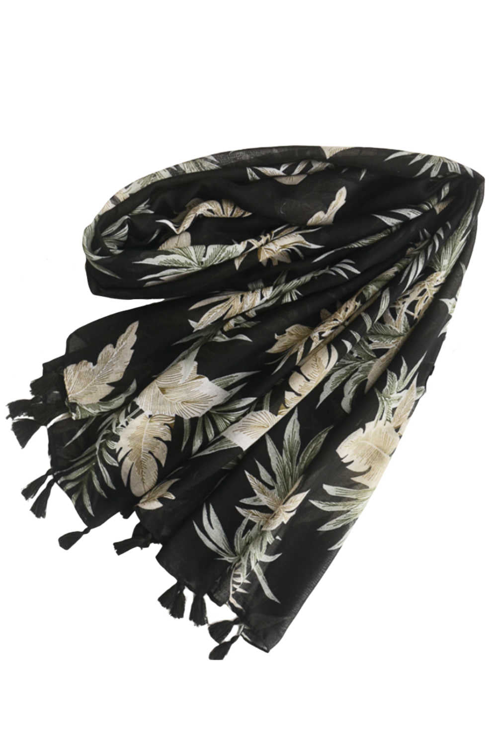 ladies-black-scarf-leaf-design-olive-green-latte