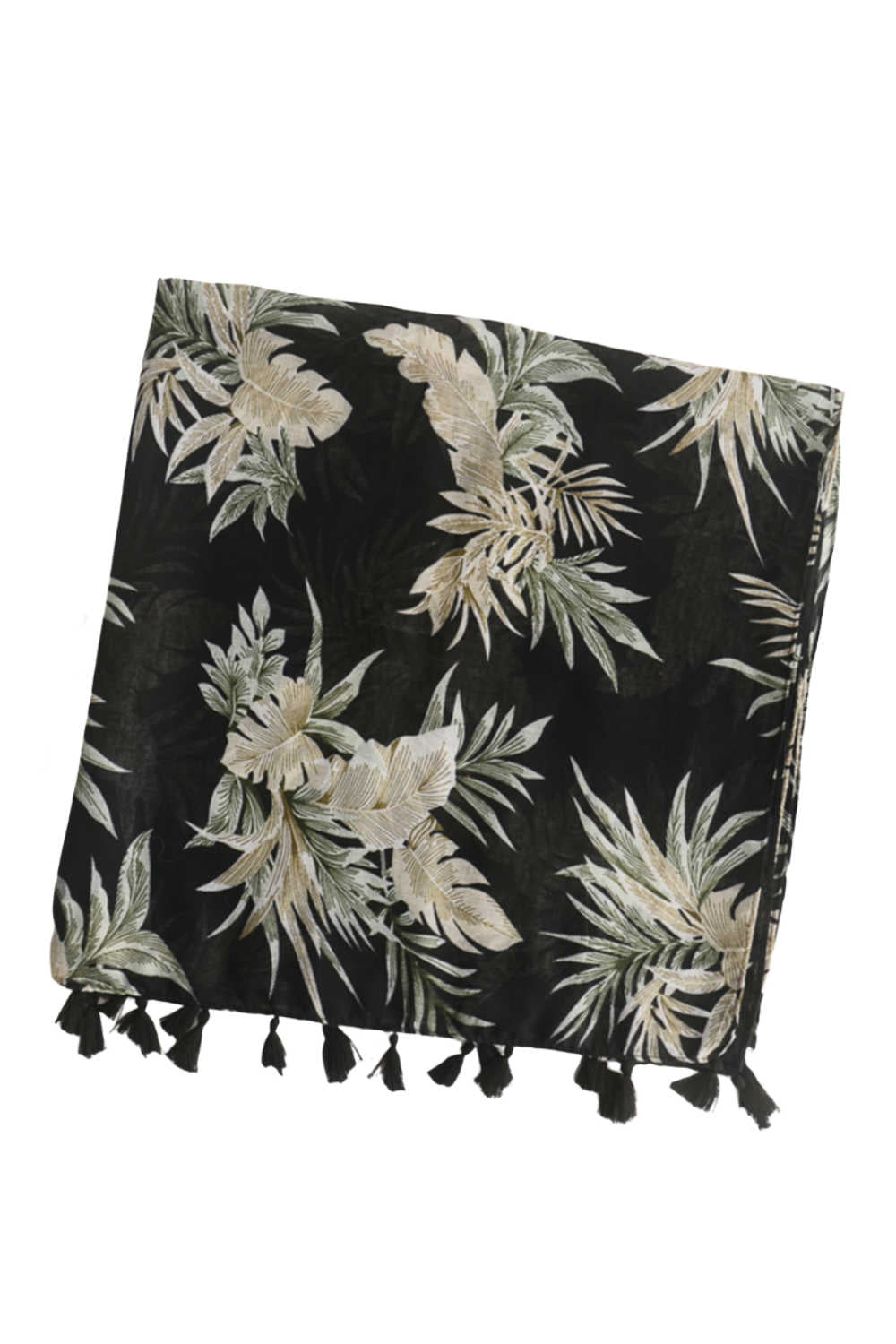 ladies-cotton-scarf-black-olive-green-leaf-design