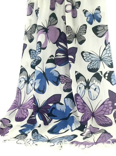 Shawl Wrap - butterfly design - mauve blue black on white