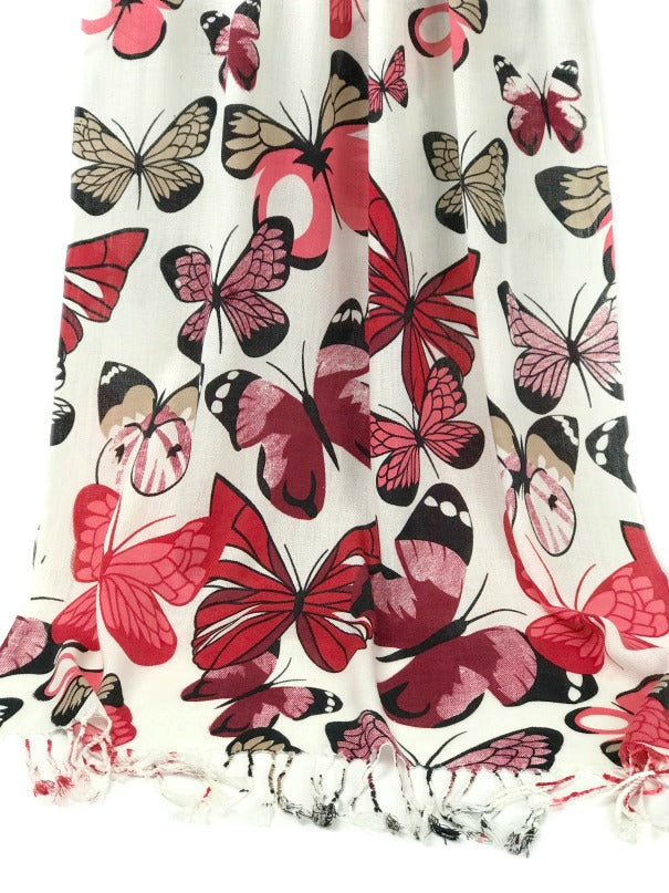 Shawl Wrap - butterfly design - red black on white