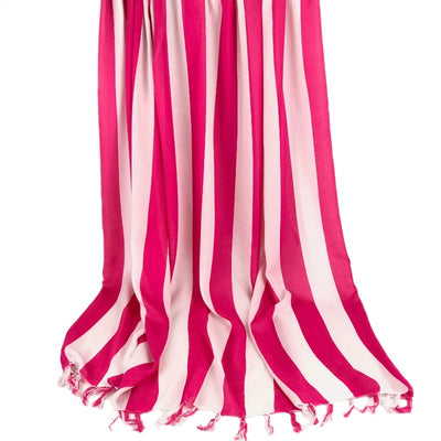Beach sarong - pink and white stripe design