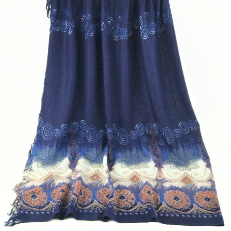 large Sarong - floral design - blue red cream