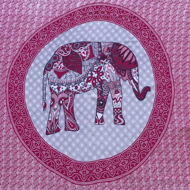 large sarong - elephant print - pink and white - Holley Day