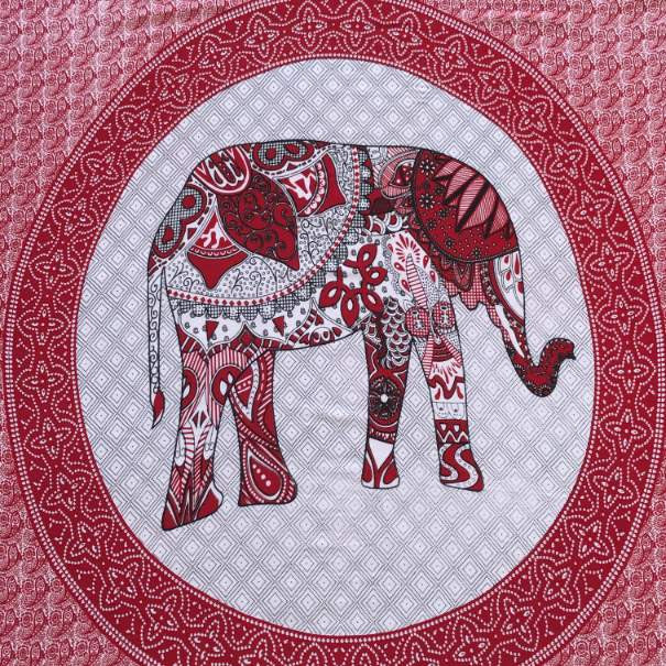 large sarong - elephant print - red and white - Holley Day