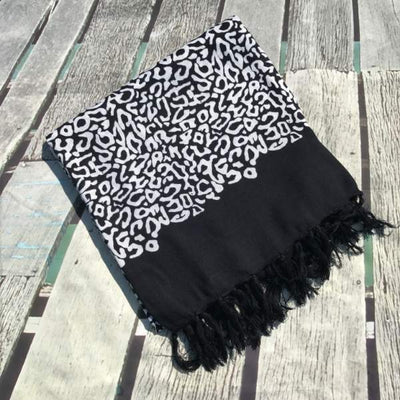 Sarong - leopard animal print - black white - Holley Day