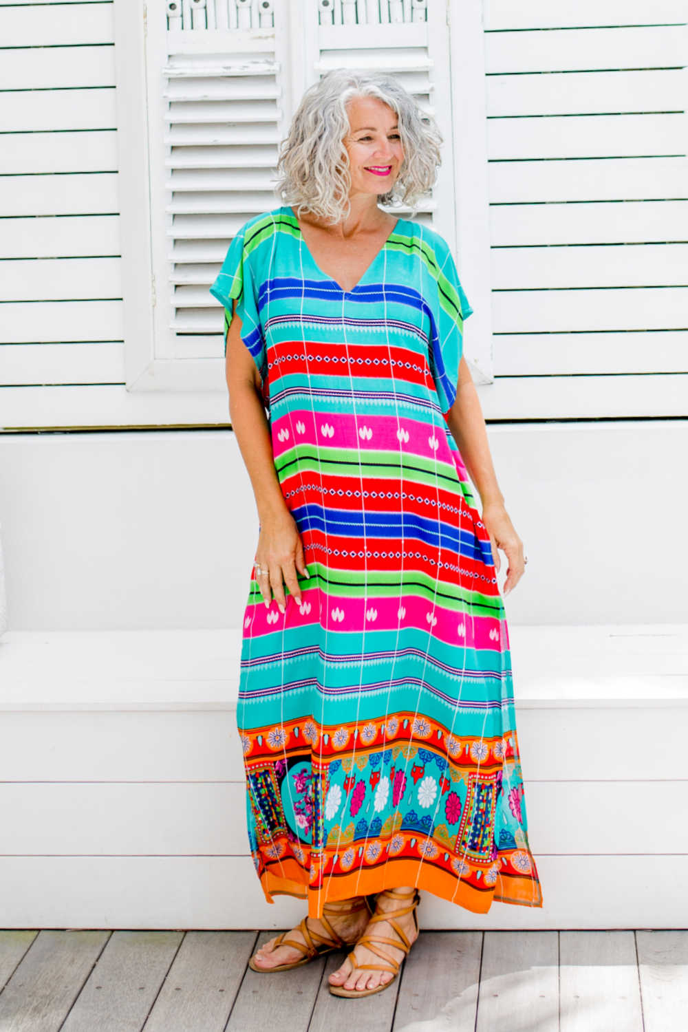long-summer-kaftan-dress-stripe-geometric-emerald-green-blue