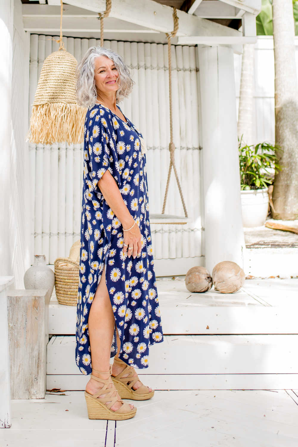 Blue Sunflower Long Kaftan Dress