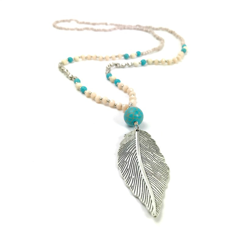 ladies-long-pendant-necklace-silver-leaf-beaded-cream-turquoise