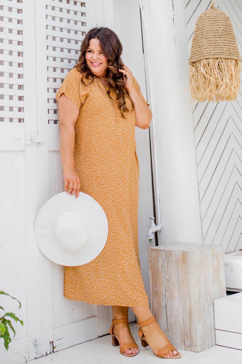 long-summer-dress-caramel-white-polka-dot