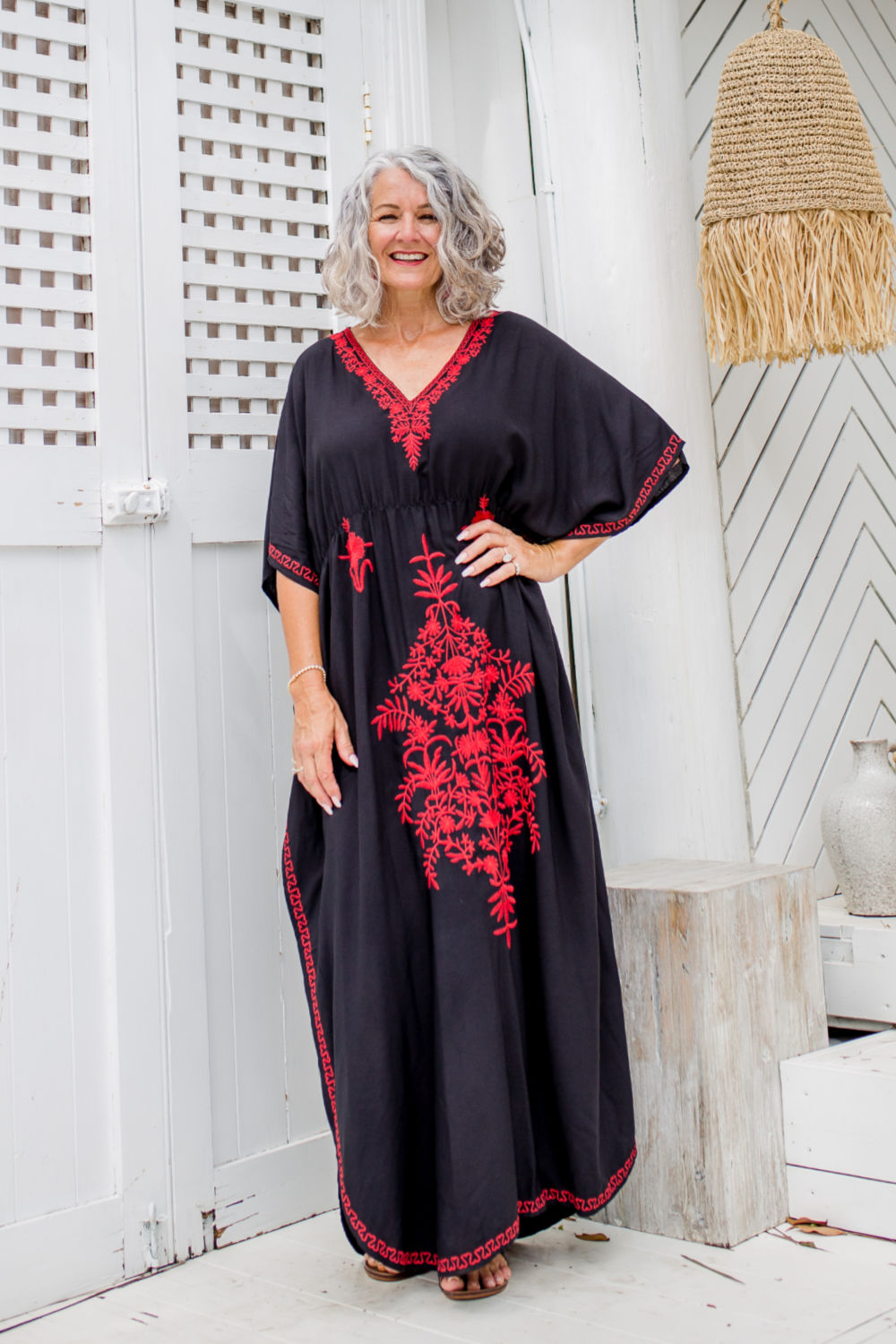 long-summer-kaftan-dress-black-red-embroidery-embellishment