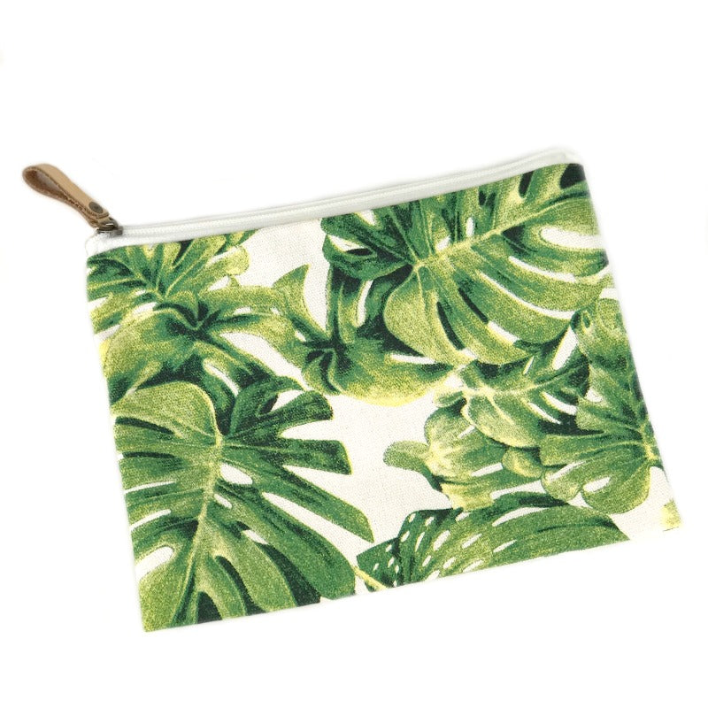 Makeup bag pouch - palm leaf design
