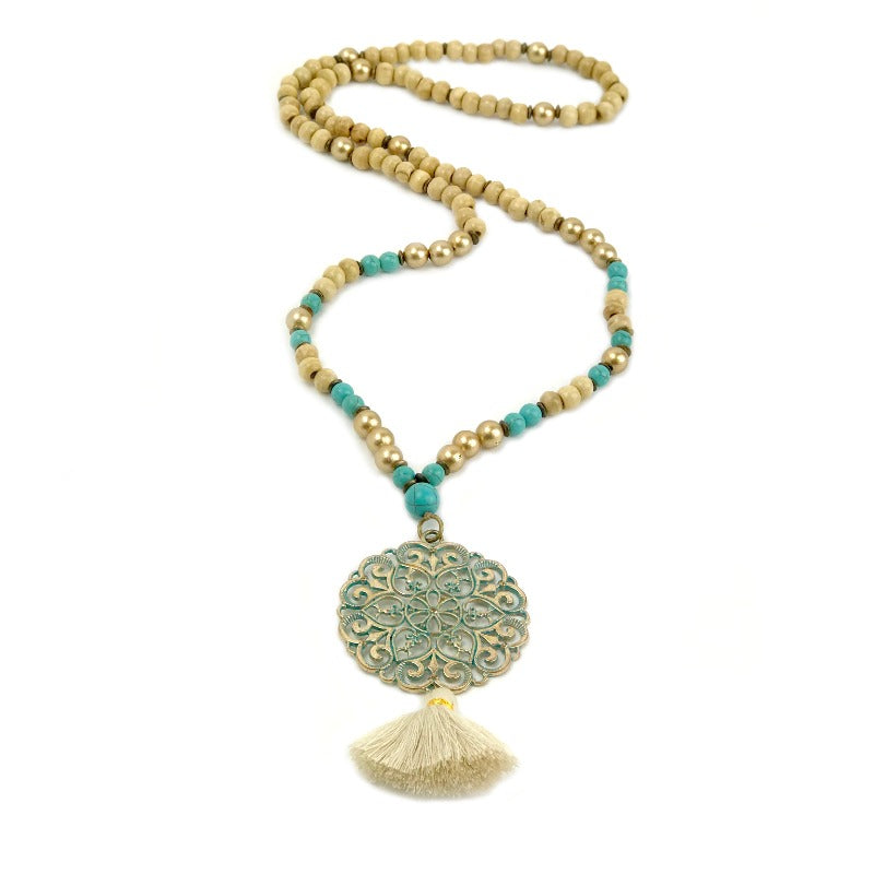 Mandala pendant necklace with tassel