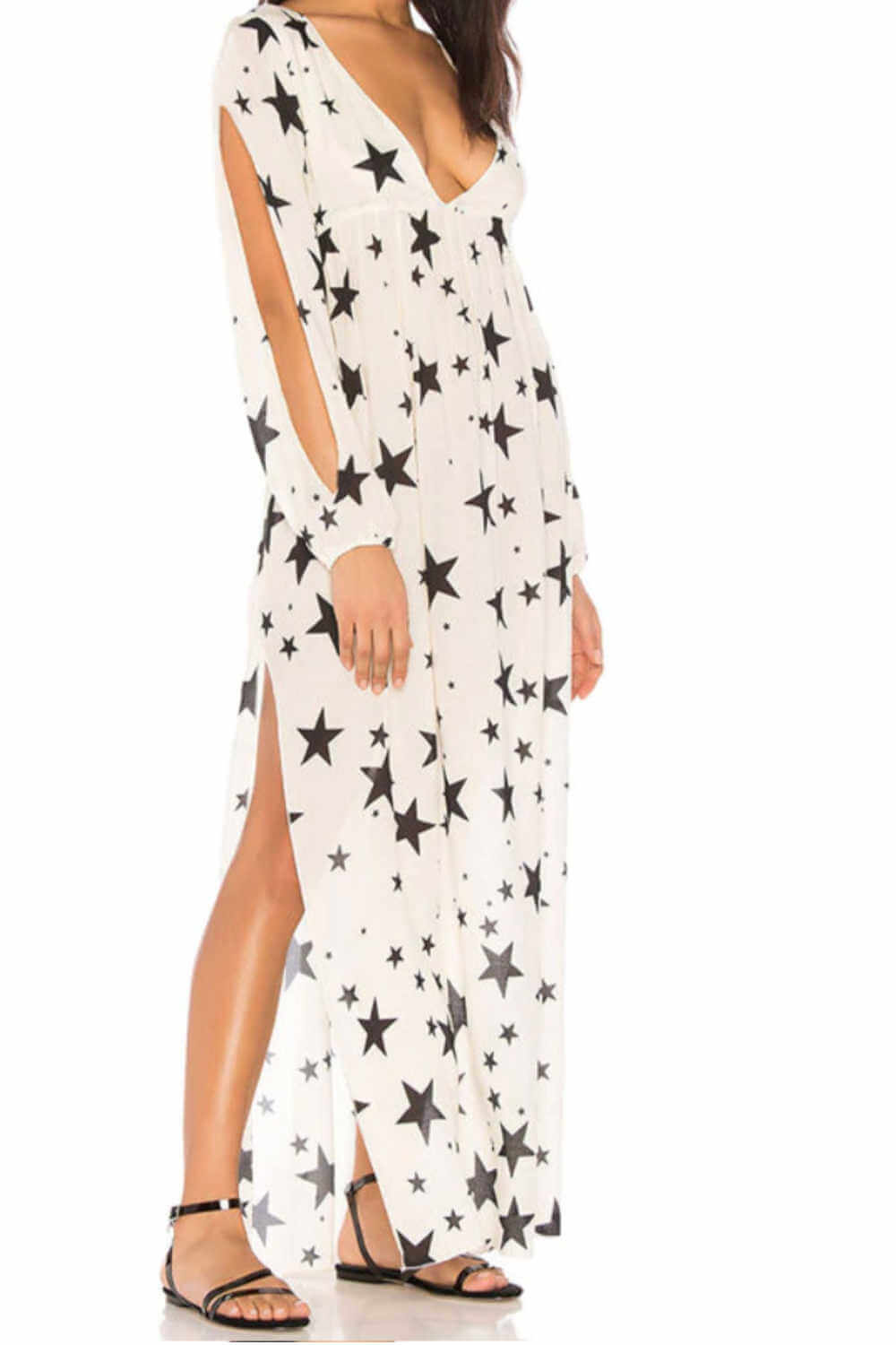 maxi-dress-beach-cover-white-black-stars