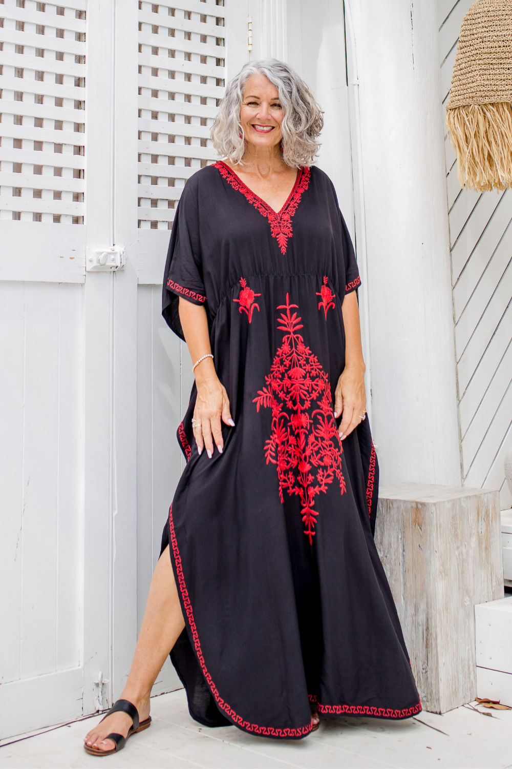 maxi-kaftan-dress-black-red-embroidery-embellishment
