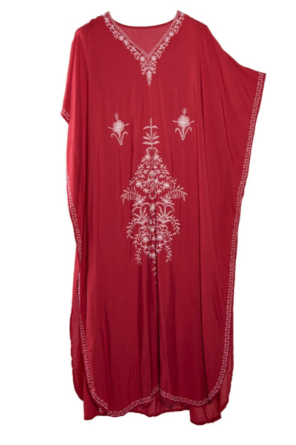 Kaftan-maxi-dress-plus-size-red-white-embroidery-embellishment