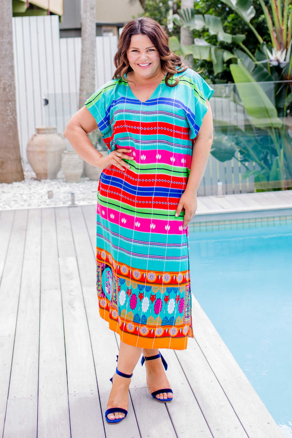 maxi-kaftan-emerald-green-blue-pink-stripe