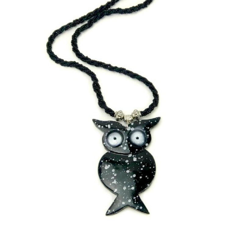 owl pendant necklace - black beaded