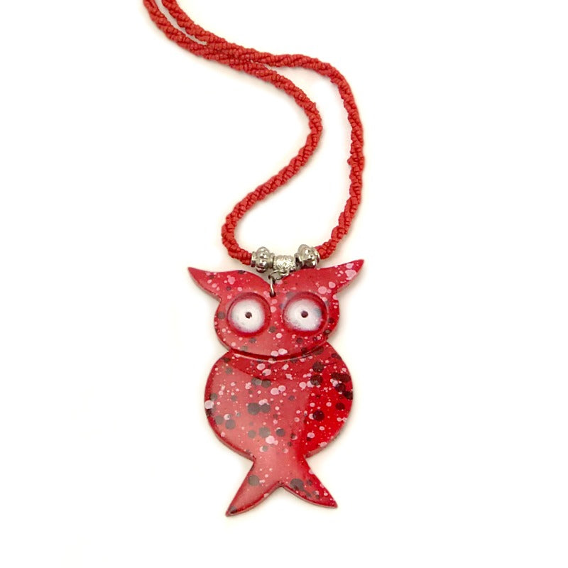 owl pendant necklace - red beaded