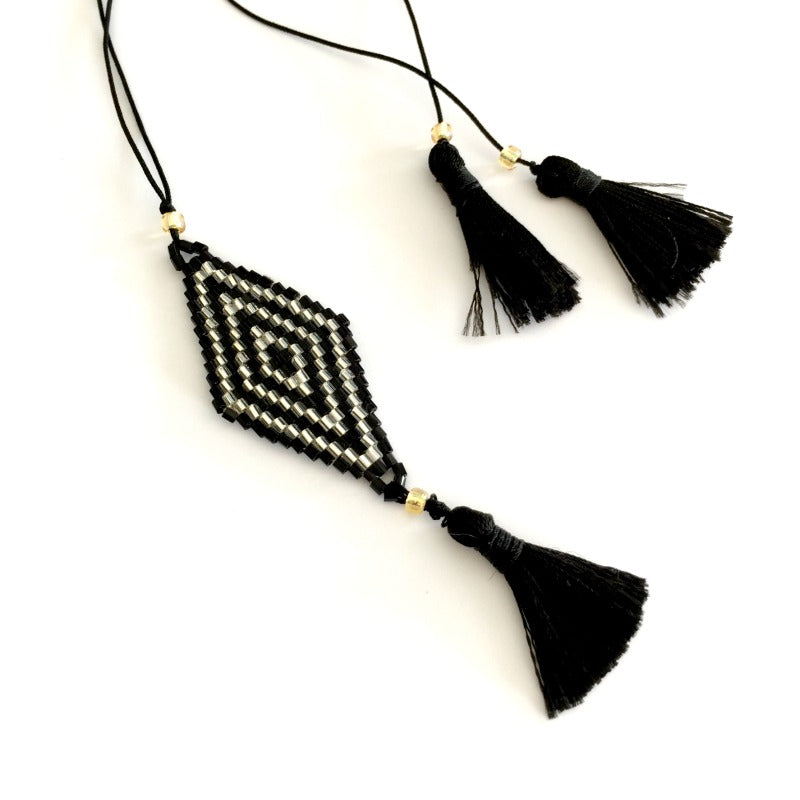 Seed-bead-pendant-necklace-black-silver-beads-tassel