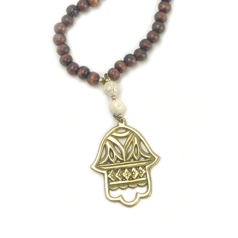 ladies pendant necklace - Fatima Hand - brown cream gold beads